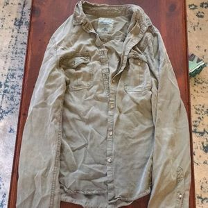 Army green long sleeved jacket from Amer Eagle